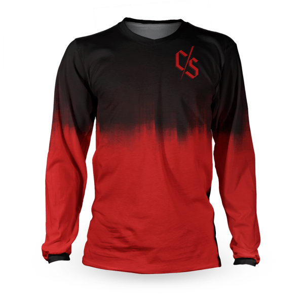 Tricou cu mânecă lungă, pentru downhill si enduro, Loose Riders, DIPPED RED